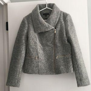 Ann Taylor Gray Wool Moto Jacket